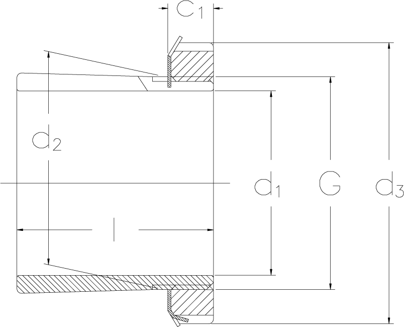 Locking sleeves for inch shafts technical drawing