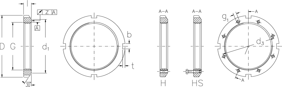 Locknuts with metric threads technical drawing