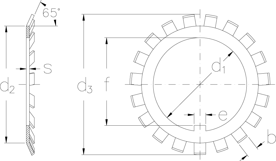 Locking washers with metric dimensions technical drawing