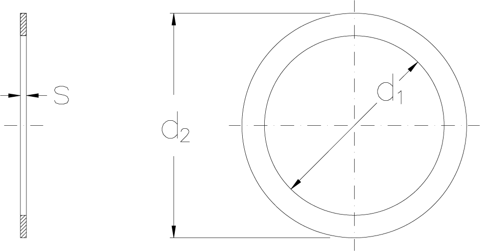 Mounting washers technical drawing