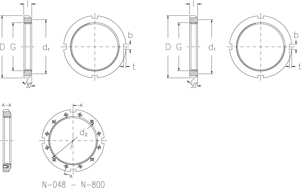 Locknuts with inch dimensions technical drawing