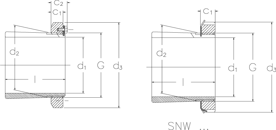 Locking sleeves with inch dimensions technical drawing