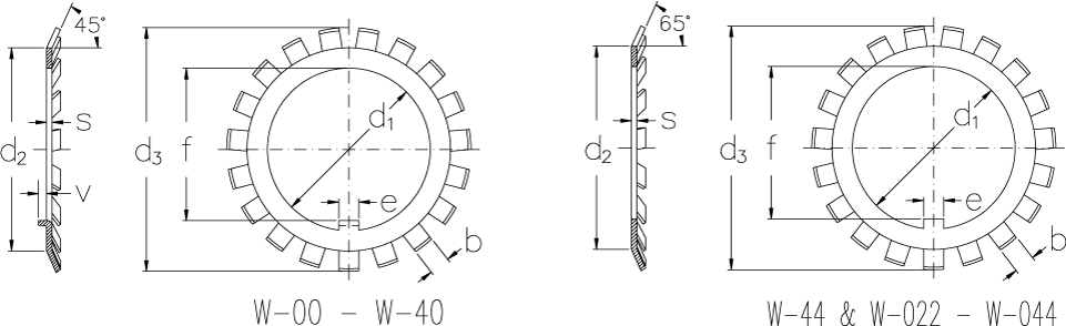 Locking washers with inch dimensions technical drawing